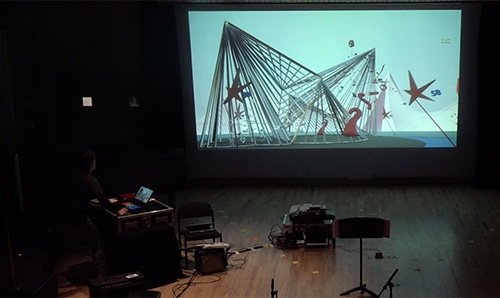 computer generated graphics on a projection screen