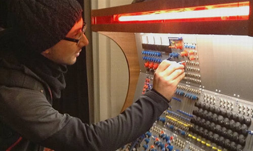 Sam Salem operating the Buchla modular Synth at the EMS studios in Stockholm.